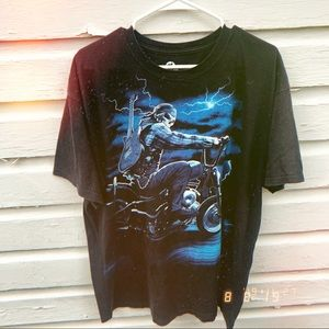 Black Liquid Blue skull biker graphic t-shirt